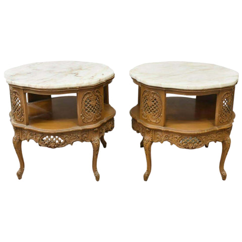 Vintage Tables, End, Pair of French Louis XV Style Marble Top, 1900's, Charming! - Old Europe Antique Home Furnishings