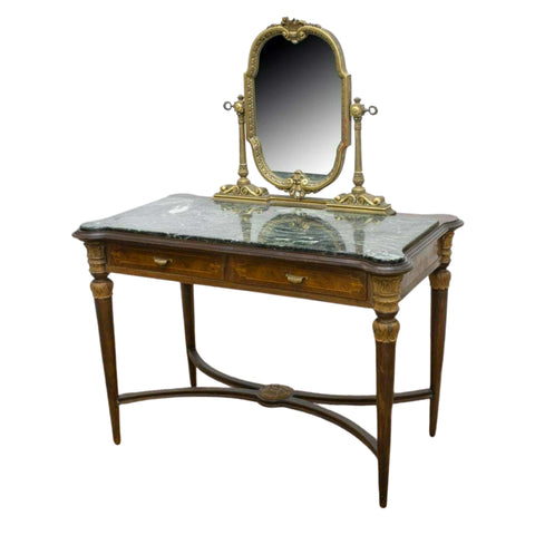 Vintage Vanity, Italian, Mirrored Marble-Top Dressing Table, Mid Century, 1900's, Gorgeous!! - Old Europe Antique Home Furnishings