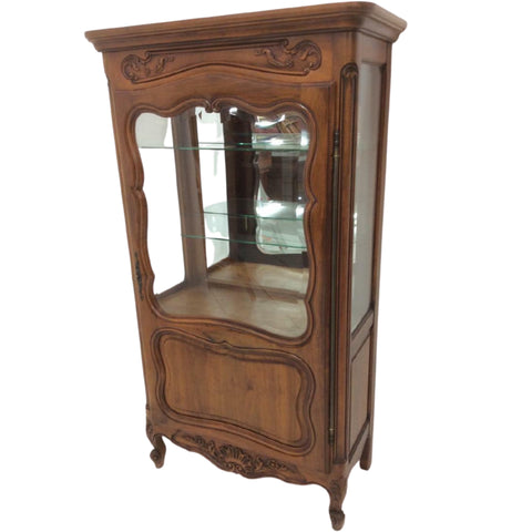 Gorgeous Vitrine, Display Cabinet, Louis XV Style Walnut Lovely Piece for Display!! - Old Europe Antique Home Furnishings