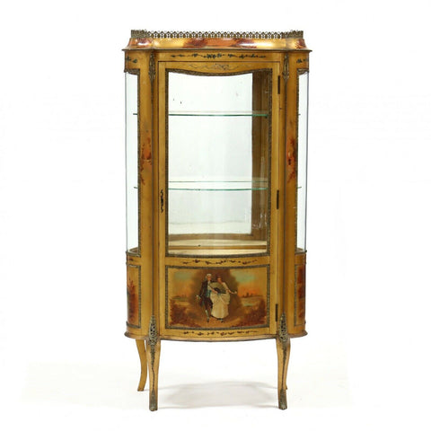 Vitrine, French Painted and Ormolu-Mounted, 20th C., Vintage Gorgeous Display! - Old Europe Antique Home Furnishings