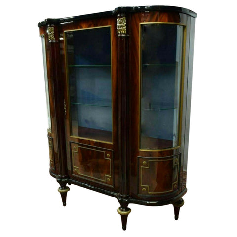 Vitrine, Glass, Louis XVI Style Mahogany Curved Glass, Vintage, Gorgeous!! - Old Europe Antique Home Furnishings