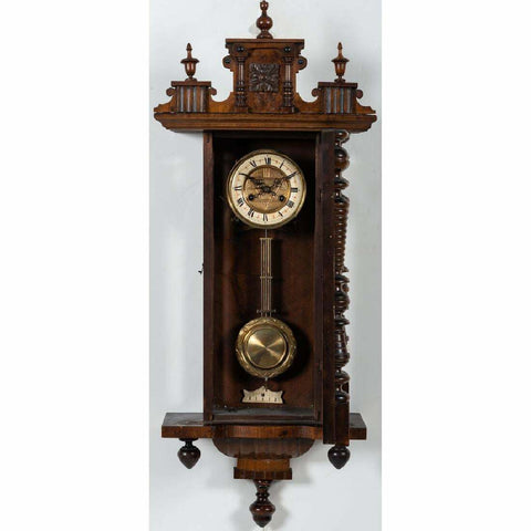 Vintage Wall Clock, Austrian Victorian, Mahogany, 19th Century ( 1800s ), Beautiful! - Old Europe Antique Home Furnishings