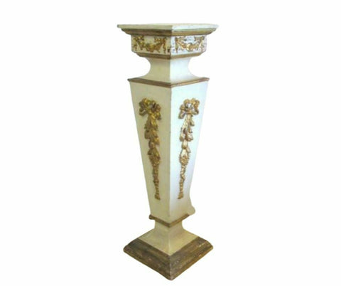 Wood Pedestal, French Style Painted, Gorgeous Vintage / Antique!! - Old Europe Antique Home Furnishings
