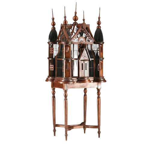 Wooden Birdcage, A Victorian Style Wire And Carved Wood Cathedral Cage, Gorgeous!! - Old Europe Antique Home Furnishings
