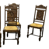 Antique Chairs, Dining, Six French Breton Oak Rush-Seat, Early 20th C., Charming - Old Europe Antique Home Furnishings