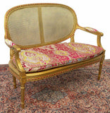 Antique Settee, Caned French Louis XVI Style Giltwood, 1800s, Charming! - Old Europe Antique Home Furnishings