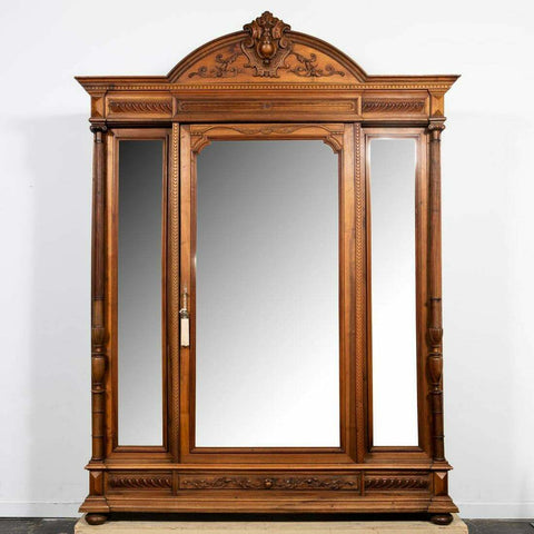 Antique Armoire, Renaissance Revival Mirrored Door, Ornate, Monumental, 1800s!! - Old Europe Antique Home Furnishings