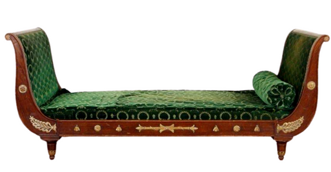 Antique Day Bed, Sleigh Form, Large French, Green, Mahogany Circa 1900, Beauty! - Old Europe Antique Home Furnishings