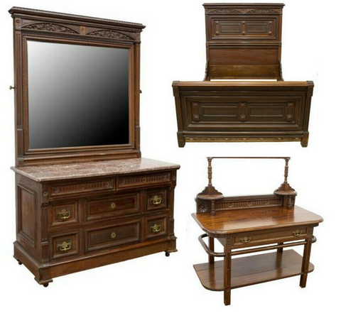 Antique Bedroom Set, Bed, 3-Piece Victorian John Sparks, Walnut, 1800s, Stunning - Old Europe Antique Home Furnishings