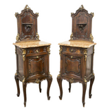 Bedside Cabinets, Louis XV Style, Walnut, Marble Top, Gorgeous Pair, Vintage!! - Old Europe Antique Home Furnishings