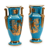 Vases, Chinoiserie-Decorated Blue, Pair, Paris Porcelain Vases Gorgeous! - Old Europe Antique Home Furnishings