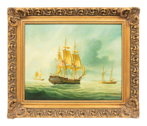 Antique Painting, Boats, Warships at Sea, American School, 1800s Gorgeous Colors!! - Old Europe Antique Home Furnishings