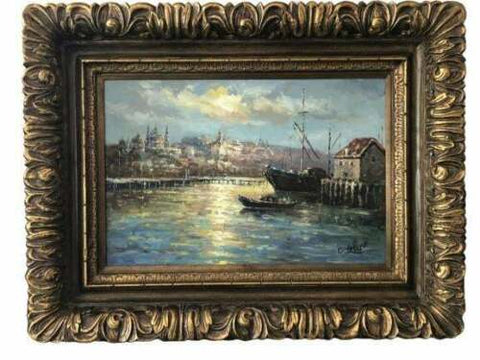 "Painting, Boats In a Harbor, 41"" x 53"" C. Frecio, Still LIfe, Gorgeous Colors! - Old Europe Antique Home Furnishings"