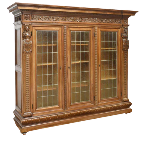 Antique Bookcase, Carved Walnut, Italian Renaissance Revival, Gorgeous! - Old Europe Antique Home Furnishings