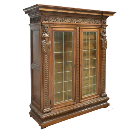 Antique Bookcase, Cabinet Italian Renaissance Revival Fitted, Early 1900s! - Old Europe Antique Home Furnishings