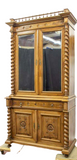 Antique Bookcase, Secretary, French Henri II Style, Mirrored, 1800s, Gorgeous!! - Old Europe Antique Home Furnishings