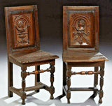 Antique Breton Side Chairs, Pair of Louis XIII Style Carved Oak,1820 C, Charming - Old Europe Antique Home Furnishings