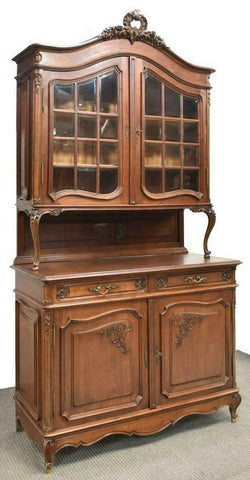 Buffet, Deux Corps, French Louis XV Style, Oak, Vintage / Antique, Gorgeous! - Old Europe Antique Home Furnishings