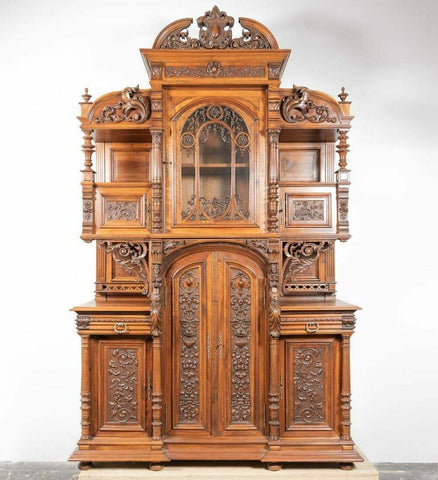 Antique Buffet A Deaux Corps Henri II Walnut Monumental, Gorgeous, 19th Century! - Old Europe Antique Home Furnishings