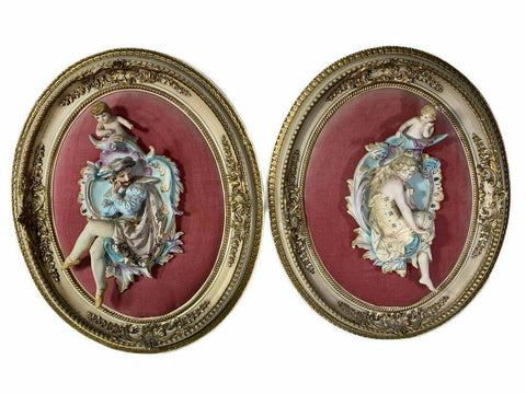 Antique Figurines, Bisque, Pair of French Hand Painted, Set, Gorgeous Home Decor! - Old Europe Antique Home Furnishings