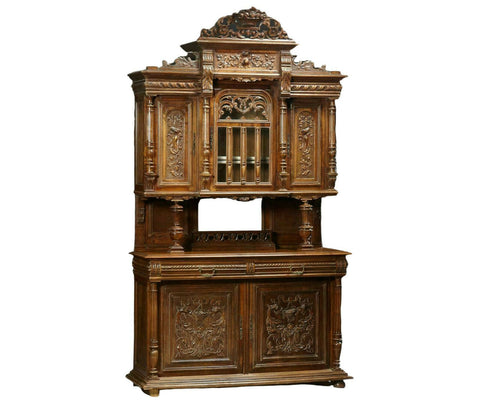 Antique Cabinet, Buffet a Deux Corps, French Henri II, Carved Walnut, 1880s! - Old Europe Antique Home Furnishings