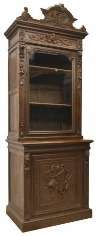 Antique Cabinet, Large French Henri II Style Carved Oak, 1800s, Handsome!! - Old Europe Antique Home Furnishings