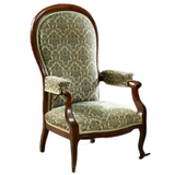 Antique ArmChair Recliner French, Louis Philippe High Back, Upholstered Fauteuil - Old Europe Antique Home Furnishings