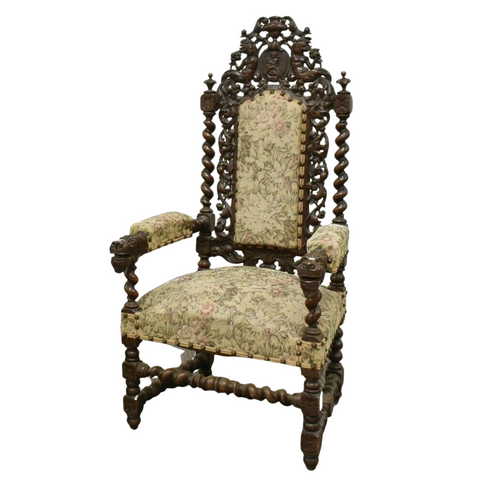 Antique Chair, Arm, Fauteuil, French Henri II Style Oak, 1800s, Gorgeous! - Old Europe Antique Home Furnishings