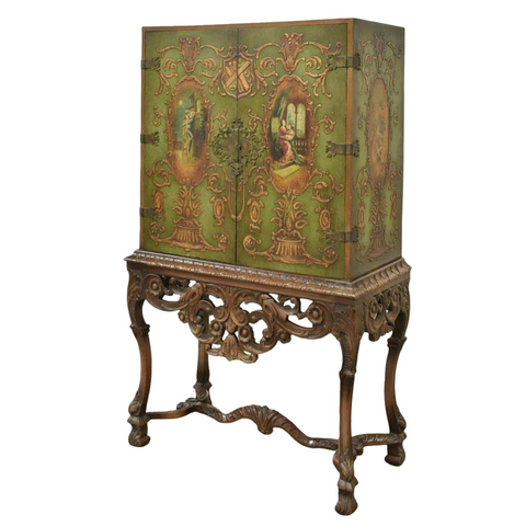 Cabinet Chinoiserie Style, Stand, Neoclassical Painted Figural, Vintage/Antique - Old Europe Antique Home Furnishings