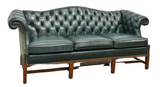 Sofa, Leather, Fairfield Chippendale Style Tufted, Green, Brass Tacks, Gorgeous - Old Europe Antique Home Furnishings
