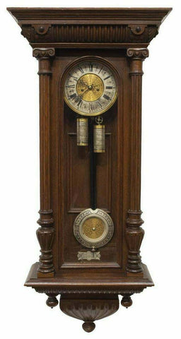 Antique Clock, Wall, German Lenzkirch Oak Cased Regulator, 1800's, Handsome Deco - Old Europe Antique Home Furnishings