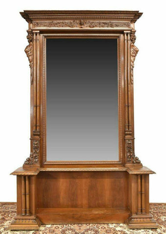 Antique Mirror, Console Entryway, Italian Renaissance Revival Carved 19th C.!! - Old Europe Antique Home Furnishings