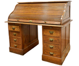 Antique Desk, Cylinder Roll Top, Double Pedestal, Early 1900s, Stunning! - Old Europe Antique Home Furnishings