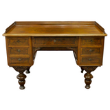 Antique Desk, Writing, Danish Figured Wood, Kneehole, 1800s, Handsome Piece!! - Old Europe Antique Home Furnishings