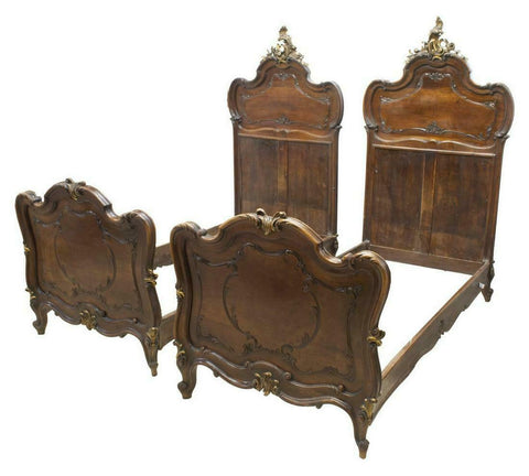 Beds, Italian Louis XV Style, Carved Walnut Handsome Pair, Early 1900s!! - Old Europe Antique Home Furnishings