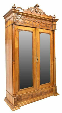 Antique Armoire, French Provincial, Fruitwood, Mirrored, 1800's, Classy Piece! - Old Europe Antique Home Furnishings