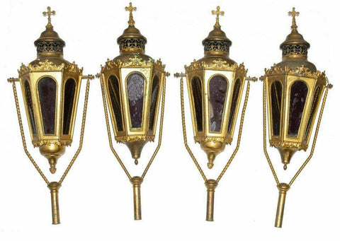 Lanterns Professional Candle, French Church Gilt, Vintage / Antique, Gorgeous! - Old Europe Antique Home Furnishings