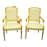 Chairs, Gold Leaf Vintage / Antique Pair of Louis XV Style, Gorgeous Pair! - Old Europe Antique Home Furnishings
