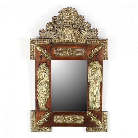Antique Mirror, Ornate, Continental Repousse, Pine, 1800s, Gorgeous!! - Old Europe Antique Home Furnishings