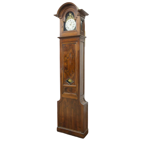 Antique Grandfather Clock, Standing French Walnut, Long Case, 1800s, Gorgeous! - Old Europe Antique Home Furnishings