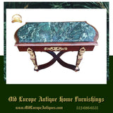 Table, Coffee, Empire Style Green Marble Top, With Ormolu, Gorgeous, Vintage!! - Old Europe Antique Home Furnishings