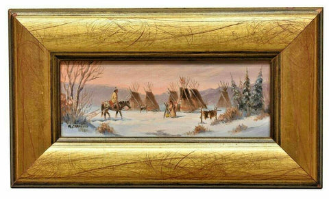 "Oil Painting Marianne Caroselli, signed, (B.1941) ""Indian Camp Painting"", Neat! - Old Europe Antique Home Furnishings"