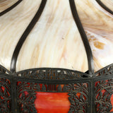 Lamp, Slag Glass Hanging Light, Antique, Cream, Red, C. 1900s, Gorgeous!! - Old Europe Antique Home Furnishings