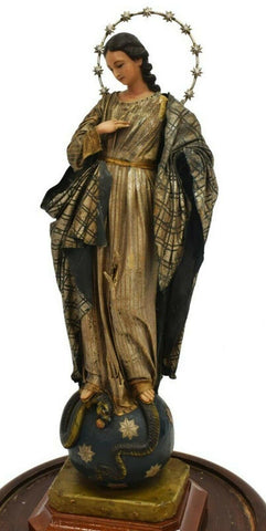 Beautiful Madonna, Religious Wax Figure Virgin St. Mary, Continental Under Dome, Antique!! - Old Europe Antique Home Furnishings