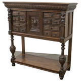Antique Server / Cabinet, Buffet French Medieval Style Carved Oak, Handsome! - Old Europe Antique Home Furnishings