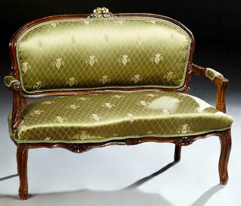 Loveseat, French Louis XV Style, Petite, Green, Early 20th Century, Charming!! - Old Europe Antique Home Furnishings