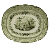 Antique Platter, English Transfer Ware, Ridgeways, Green Grecian Pattern, Lovely - Old Europe Antique Home Furnishings