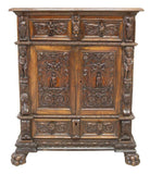 Antique Secretary, Cabinet, Renaissance Revival Relief Carved, Pre 1800s!! - Old Europe Antique Home Furnishings
