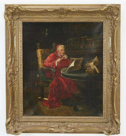 Antique Portrait of a Cardinal, Attr. Jehan Georges Vibert Oil on Canvas, 19th C - Old Europe Antique Home Furnishings