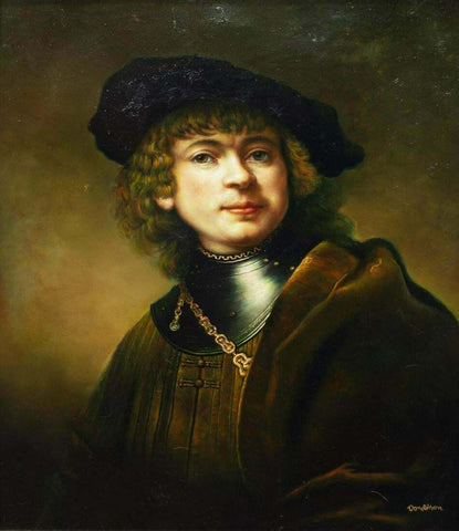 Painting, Signed, Self-portrait, Oil, As a Young Man, After Rembrandt!! - Old Europe Antique Home Furnishings